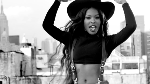 "Azealia Banks on the set of the video for her song ""Luxury""."
